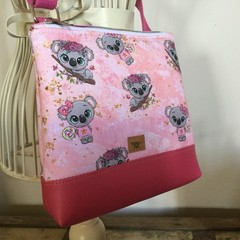 Girls Crossbody Bag - Koalas on Pink