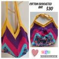 Crocheted Rainbow Cotton Bag