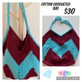 Crocheted Blue And Burgundy Cotton Bag