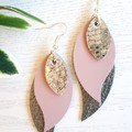 Stacked Leaf, Genuine Leather Earrings, Silver/ Pink