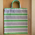 TOTE BAG Green, white & grey striped. Green button closure inside.