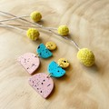 Suna Earrings in  Yellow, Mint and Cinnamon with Black Specks