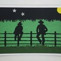 Greeting Card - 'Stockmen on the Fence'