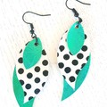 Genuine Leather, Stacked Leaf Earrings, Metallic Aqua