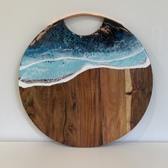 Resin Art Cheeseboard with Copper Handle