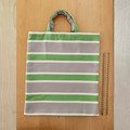 TOTE BAG Green, white & grey striped. White button closure inside.