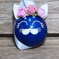 Christmas Bauble Decoration– Blue cat with flowers