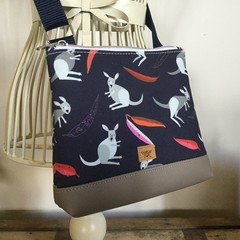 Girls Crossbody Bag - Kangaroos on Navy