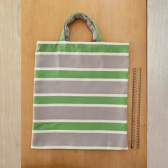 TOTE BAG Green, white & grey striped. White button closure inside.