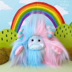 "Yeti artist bear, pastel aqua blue, pink and grey ""Flossie"""