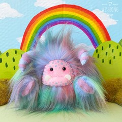 "Yeti artist bear, blue tone rainbow faux fur monster plush ""Squiggle"""