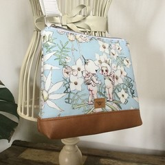 Girls Crossbody Bag - Flannel Flower Babies on Pale Blue
