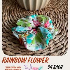 Rainbow Flower Scrunchie