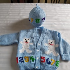 BOYS HAND KNIT JACKET AND HAT AGE 2 YEARS