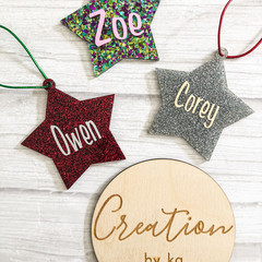 Star glitter acrylic ornament