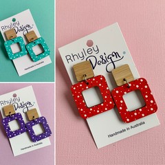 Bamboo Polka Dot Square Earrings