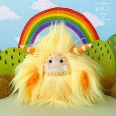 "Yeti monster plush, artist bear, yellow and orange ""Saffron"""