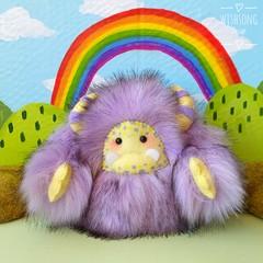 "Yeti artist bear, purple and yellow plush monster ""Misty"""