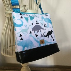 Girls Crossbody Bag - Blue Dinosaurs