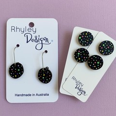 Polka Dot Wooden Earrings