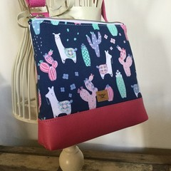 Girls Crossbody Bag - Llama on Navy