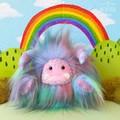 "Yeti artist bear, blue tone rainbow faux fur monster plush ""Squiggle"""