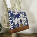 Girls Crossbody Bag - Flannel Flower Babies on Navy