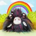 """Yeti artist bear, monster plush, black and multi coloured """"Sparkles"""""""