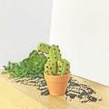 Light Green Crochet Cactus with Red Flowers