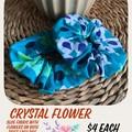 Crystal Flower Fabric Scrunchie