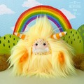 "Yeti monster plush, artist bear, yellow and orange ""Saffron"""