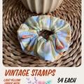 Vintage Stamp Fabric Scrunchie