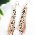 Stacked Tassel, Genuine Leather Earrings Rose Gold/ Leopard