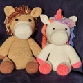 Handmade Crochet Unicorn and Horse Kids Soft Toys, Horse and Unicorn Amigurumi