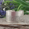 OPEN BAND RING. with Etched Daisy Chain Design. Upcycled from Vintage Silverware