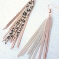 Stacked Tassel, Genuine Leather Earrings Rose Gold/ Leopard