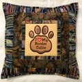 Batik cushion cover - I Love My Border Collie