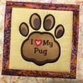 Batik cushion cover - I Love My Pug