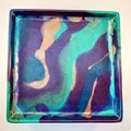 Large square resin serving cheese platter plate.  Glossy finish. Great gift
