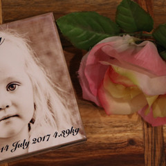 Personalised coasters with photo and names, set of four, custom made, made to or