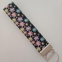 Black with pastel flower print key fob wristlet