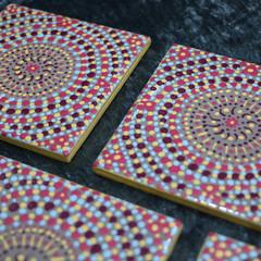 Coasters, Hand painted dot mandala coasters, multi coloured coasters, set of fou