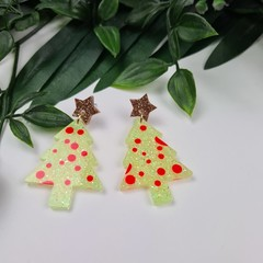 Spotty Christmas Tree - Button - Glitter Stud Dangle earrings