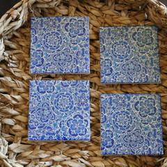 Coasters, Blue mandala coasters, set of four coasters, square ceramic coaster se