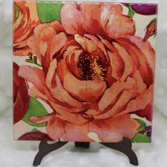 Coasters, Vibrant flower coaster set, set of four coasters, ceramic tile coaster