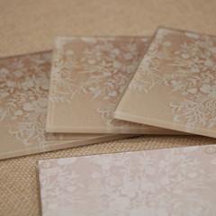 Coasters, Lace glass tile coaster set, 10cm x10cm coasters, rubber feet, cream l