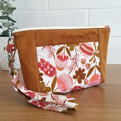 Wristlet Pouch- Native Bouquet and Saffron 2