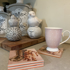 Coasters, 'puppy and leash' coasters, set of four, heat press, ceramic tile, gif