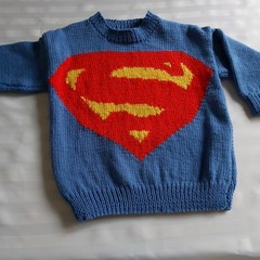 HAND KNIT SUPERMAN SWEATER 2 - 3 yeara