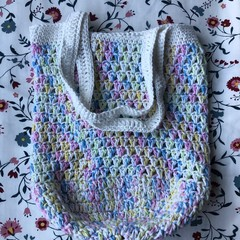 Crochet Market Bag   White & Variegated Rainbow   Double thickness base